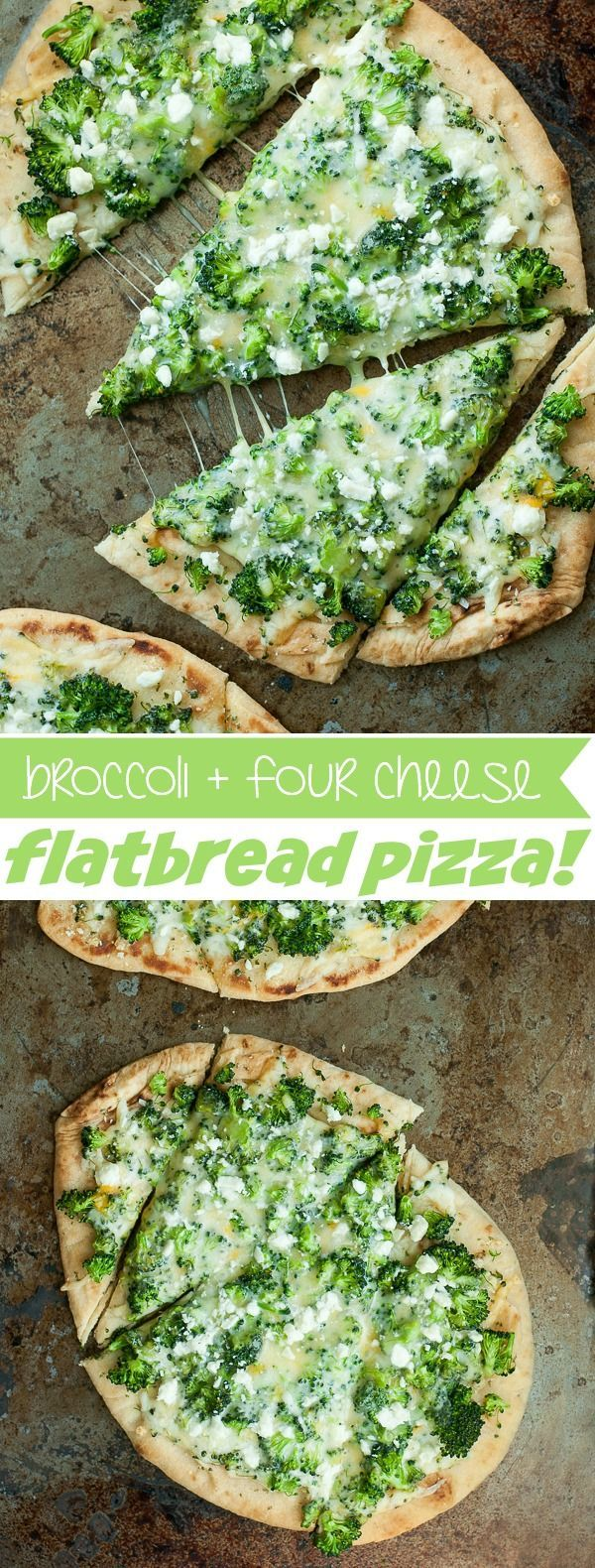 You'll flip over this quick, easy, and delicious Broccoli and Cheddar Four-Cheese Pizza! Use your favorite crust recipe or grab some fluffy naan flatbread and eat. yo. veggies.