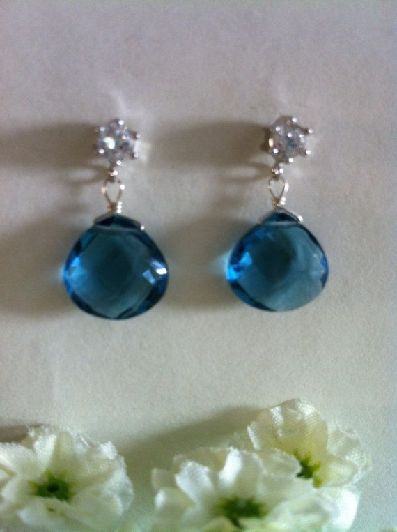 SALES  Genuine Blue Topaz Dangle Earrings Zirconia by SwamiJewelry, $50.00