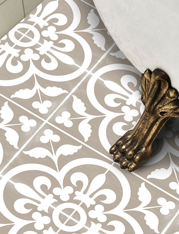 Vinyl Floor Tile Sticker - Floor decals - Carreaux Ciment Encaustic Corona Tile…