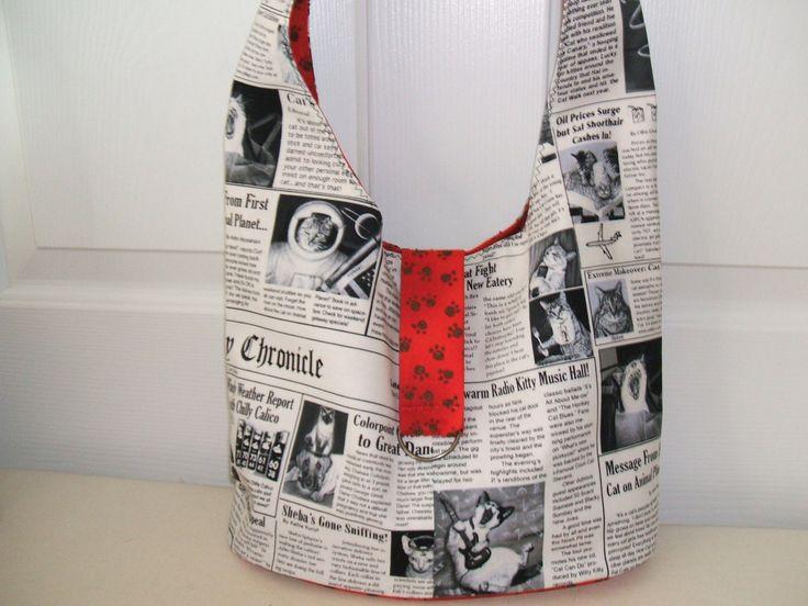 Kitty Chronicle Newspaper Print Handbag by kittycollage on Etsy