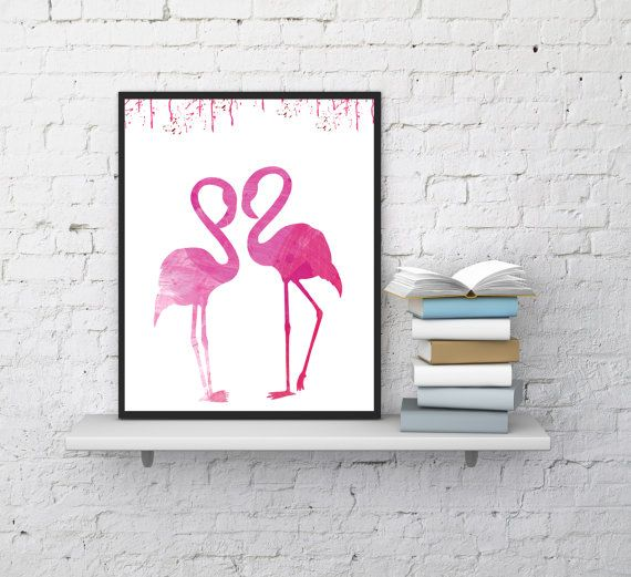 Flamingos print, Tropical wall art, Nursery wall decor, Flamingos wall art, Digital print, Flamingos watercolor, InstantDownloadArt1