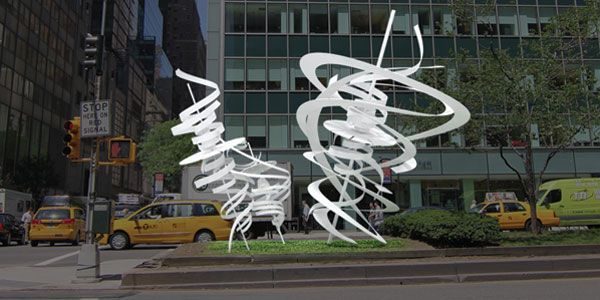 "Titled ""Park Avenue Paper Chase,"" the series of seven large works is scheduled to be unveiled the first week of March."