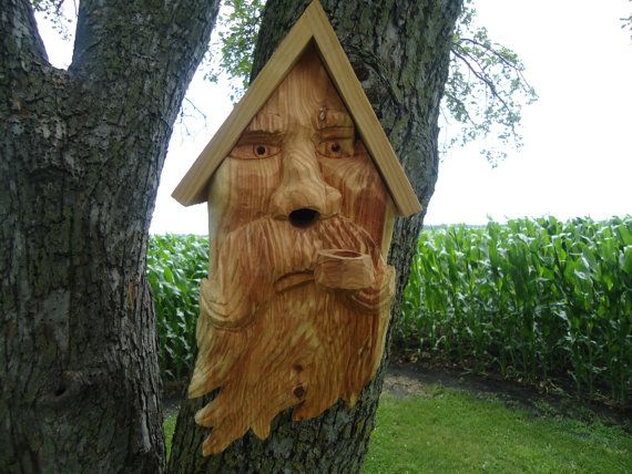 Delightful Old Man Cedar Wood Birdhouse   Outdoor Wood Birdhouse   Unique Wood  Birdhouse   Hand Carved