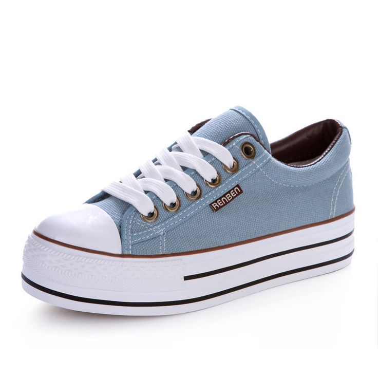 women canvas shoes female Breathable  casual Shoes students lace up Platform Thick Sole Skate shoes Zapatillas Mujer XK071517