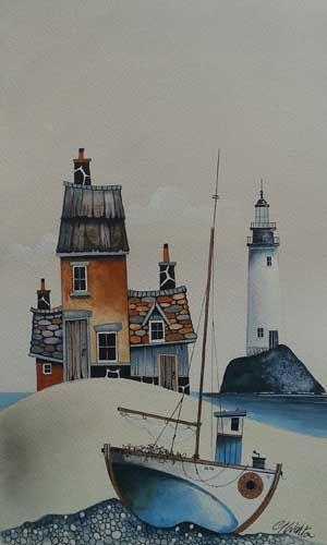 Gary Walton watercolour 'Pebble Beach Landing I'