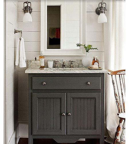 Southern Living Cottage Bathroom With Gray Single Vanity Marble Countertop White Wood I Would Love To Use A Kitchen Base Cabinet Their