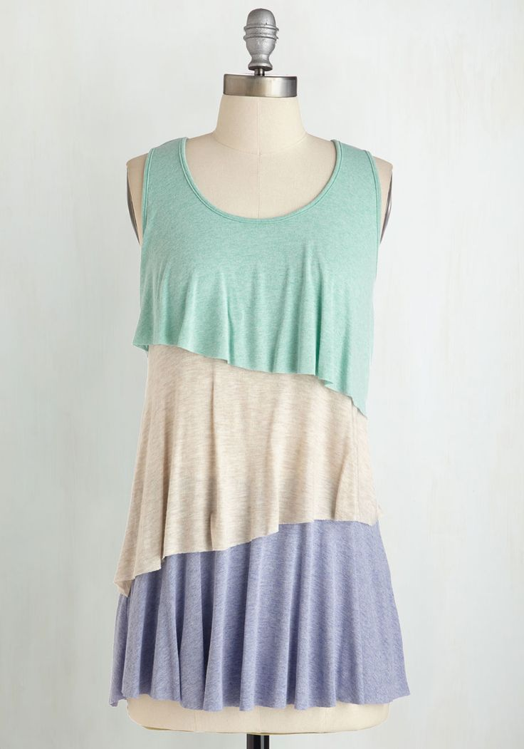 Smiling Tier to Tier Top in Sherbert. For those who find their happy place in feminine fashion, this tri-tiered tank top will totally thrill you! #multi #modcloth