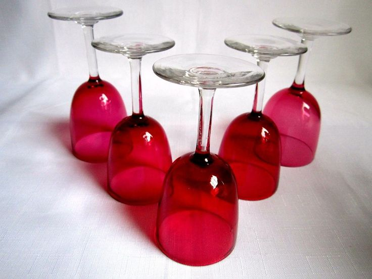 Crystal Red Cordial Liquor Glasses