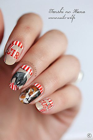 circus nail nails nailart  circus nails animal nail