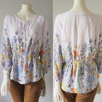 NEW-IVANKA-TRUMP-Floral-Elastic-Waist-Peplum-Shirt-Blouse-Watercolor-Small-79