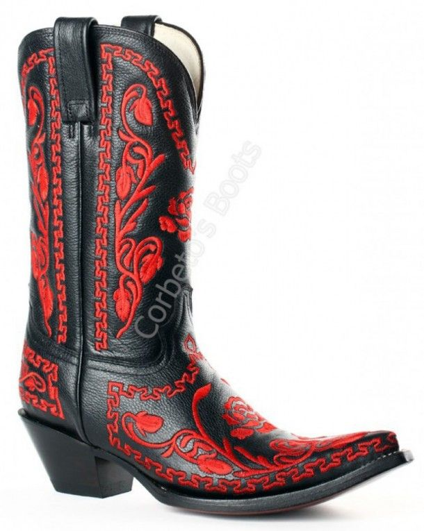 Corbeto's Boots | 2198 Venado Negro-Piteado Rojo | Bota cowboy Buffalo Boots piel venado negra con bordados rojos para mujer | Buffalo Boots ladies black calf skin with red flowers embroidery cowboy boots.