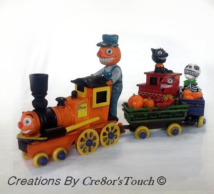 handmade halloween ooak wooden folk art spook train skeleton black cat devil jol - Lego Halloween Train