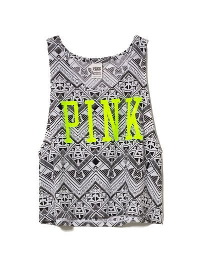 PINK Cropped Muscle Tank in Black and White Aztec $22.50