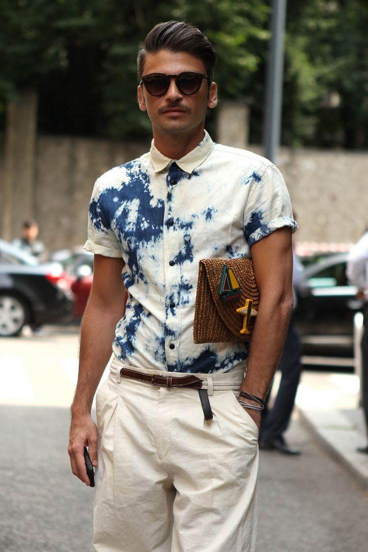 "wgsn: "" Super cool tie-dye shirt and wicker-basket clutch spotted at Milan Men's Week. Mens Fashion Blog, Fashion Moda, Fashion Trends, Fashion Tag, Latex Fashion, Cool Tie Dye Shirts, Camisa Tie Dye, Stylish Men, Men Casual"