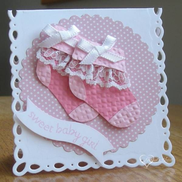 Pretty in Pink Baby Booties by darbaby - Cards and Paper Crafts at Splitcoaststampers