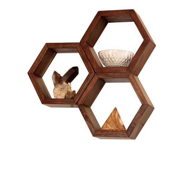 Lovely Wood Shelves   Wall Shelving   Geometric Hexagon Shelves   Modern Eco  Friendly Home Decor