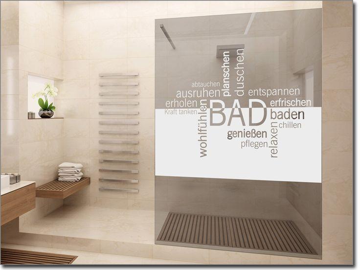 Fancy Fensterfolie mit Badezimmer Begriffen als Sichtschutz