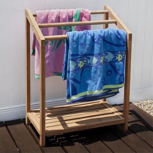 teak outdoor towel rack