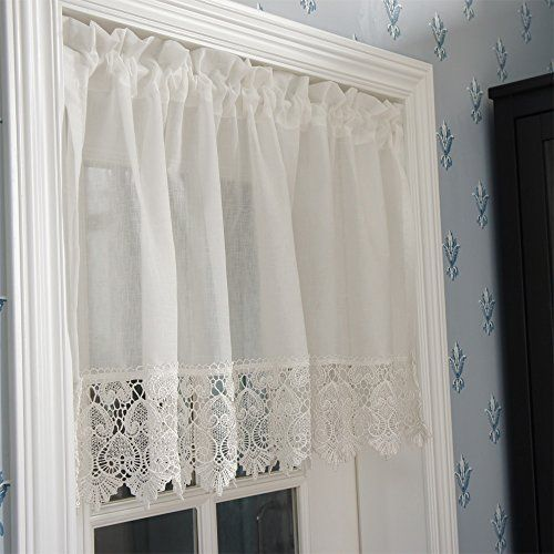 FADFAY Home Textile,Elegant Milk White Short Curtains,Brand Water Soluble  Lace Short