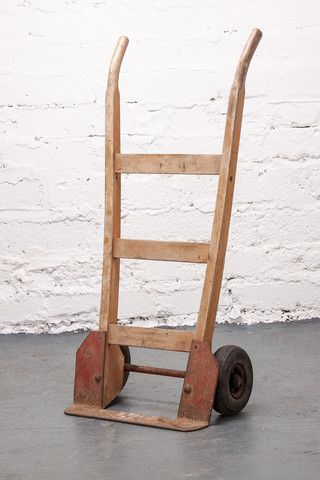 1950's timber and metal hand cart with original maker's plate. Excellent patina.  If you like this check out our shop http://industrialthings.com/