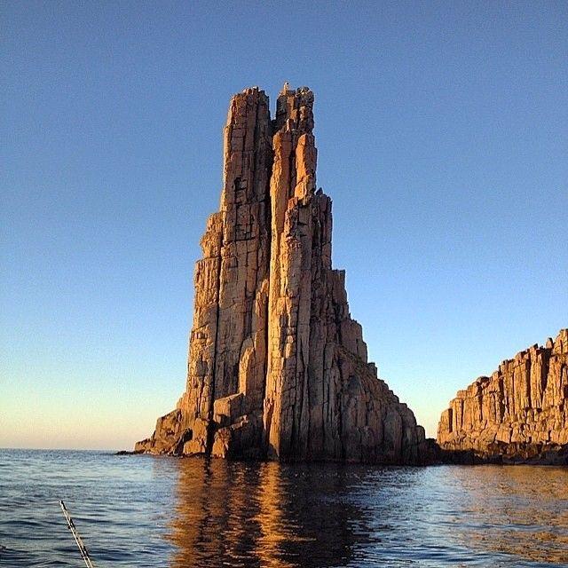 Morning sun on the dolerite sea cliffs of the Tasman Peninsula and the Tasman National Park.