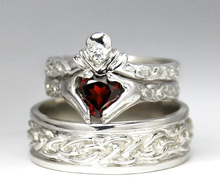 Claddagh Wedding Set  - Sterling silver - NEW - Diamond - Garnet - Engagement Ring - Men's Celtic Band - Rickson. $1,100.00, via Etsy.
