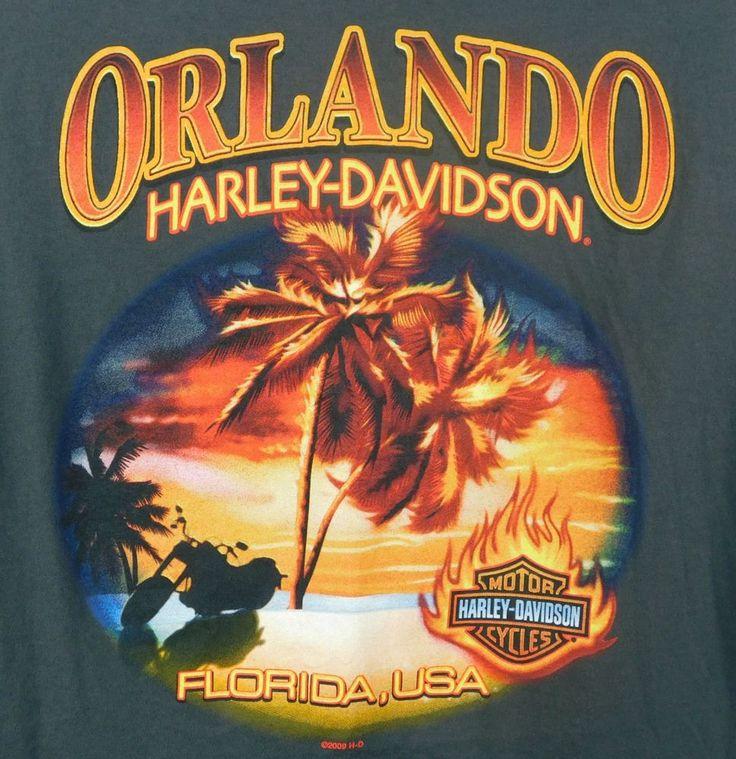Orlando Harley Davidson Motorcycle Florida Sunset Graphic T-shirt XXL DK Gray #HarleyDavidson #graphic