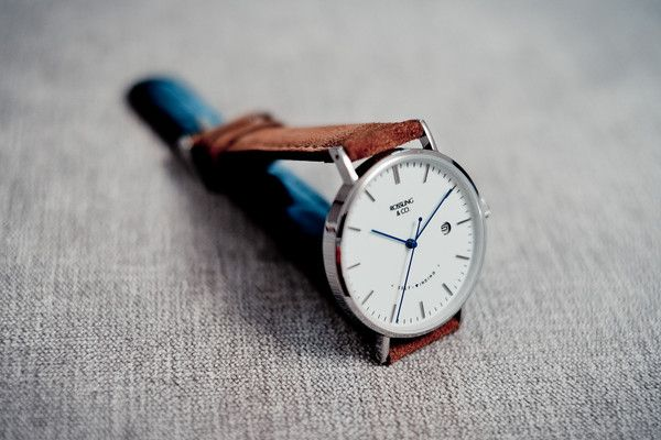 Automatic Silver and White (blue hands) with Light Brown Suede Strap - Rossling & Co.