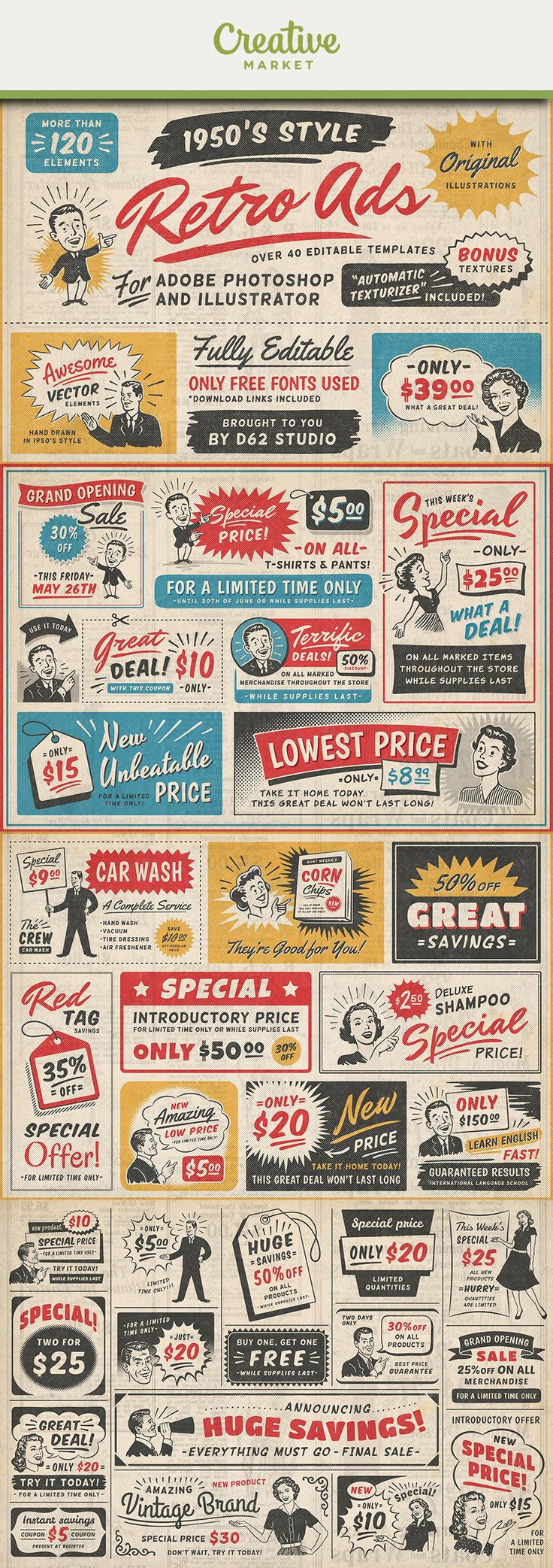 """Ad: 1950s style retro ad templates featuringORIGINALillustrations with our """"Automatic Texturizer"""" Photoshop effect preset and bonus textures. Includes, Illustrator, Photoshop and PNG files. Easily editable with only free fonts used. For 39$ on Creative Market"""
