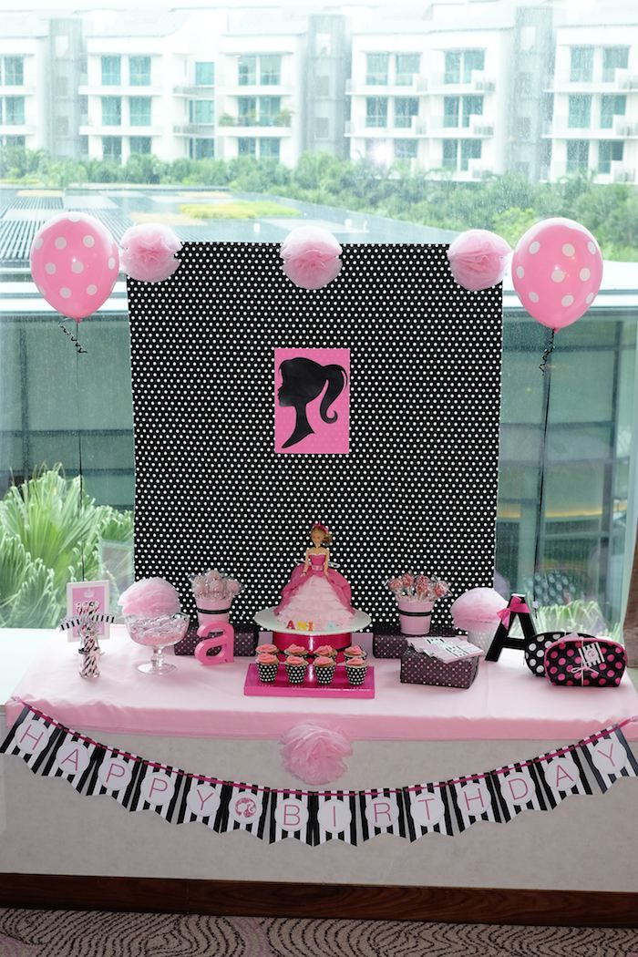 Barbie themed birthday party via Kara's Party Ideas KarasPartyIdeas.com #barbiedoll #barbieparty Cake, decor, supplies, printables, favors, games, and more! (22)