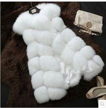 Yeni 2016 Varış Kış Sıcak Moda Kadınlar İthalat Coat Kürk Yelek yüksek Dereceli Taklit Kürk Tilki Kürk Uzun Yelek Artı Boyutu: S-XXXXL(China (Mainland))