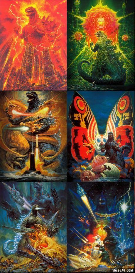 The original Godzilla posters by Noriyoshi Ohrai.