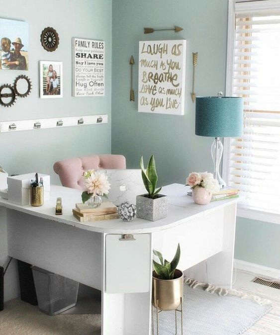 50 Best Inspiring Cozy Office Room Decor Ideas Office Room Decor Desks For Small Spaces Home Decor