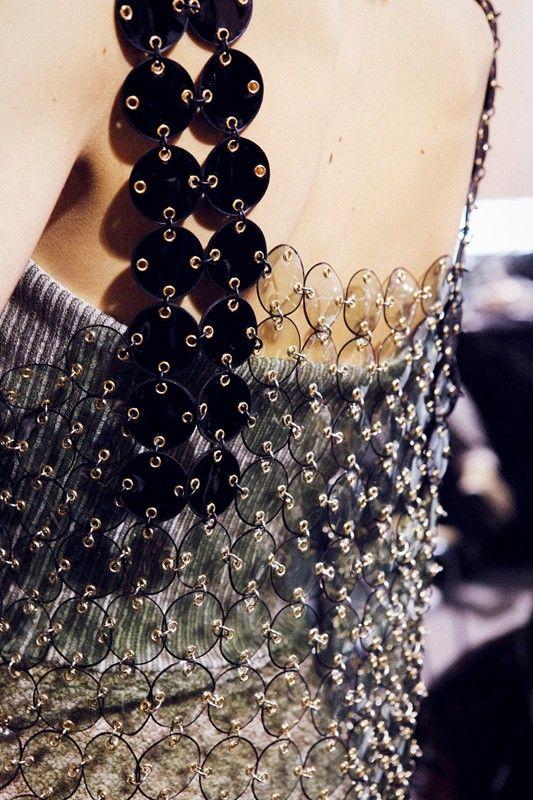 Transparent plastic chain link dress; fashion design detail; textiles for fashion // Paco Rabanne A/W 2015