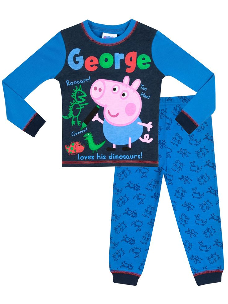 "Peppa Pig Boys' George Pig Peppa Pig Pajamas Size 5. Fabulous George the Pig pajama set from the adorable television series Peppa Pig. Cute design with image of George drawing dinosaurs on pj top. Cute sketches from Peppa Pig's little brother George with the captions ""Rooaarr!"", ""Tee Hee"", ""Grrrrr"" and ""George loves his dinosaurs!"". Contrasting George pajama bottoms with full print of George the Pig and dinosaurs. Officially licensed Peppa Pig merchandise, exclusively designed for Character…"