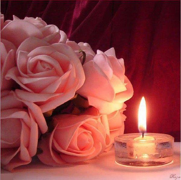 Roses et bougie