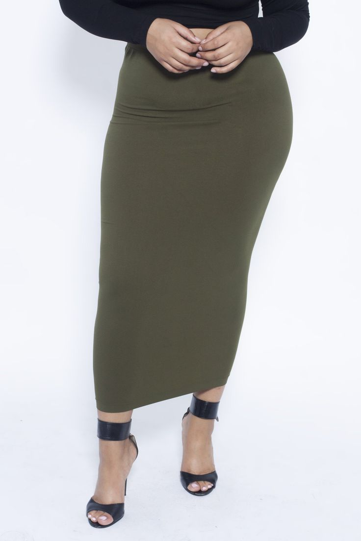 Plus Olive Maxi Skirt/Tube Dress (fits up to plus)