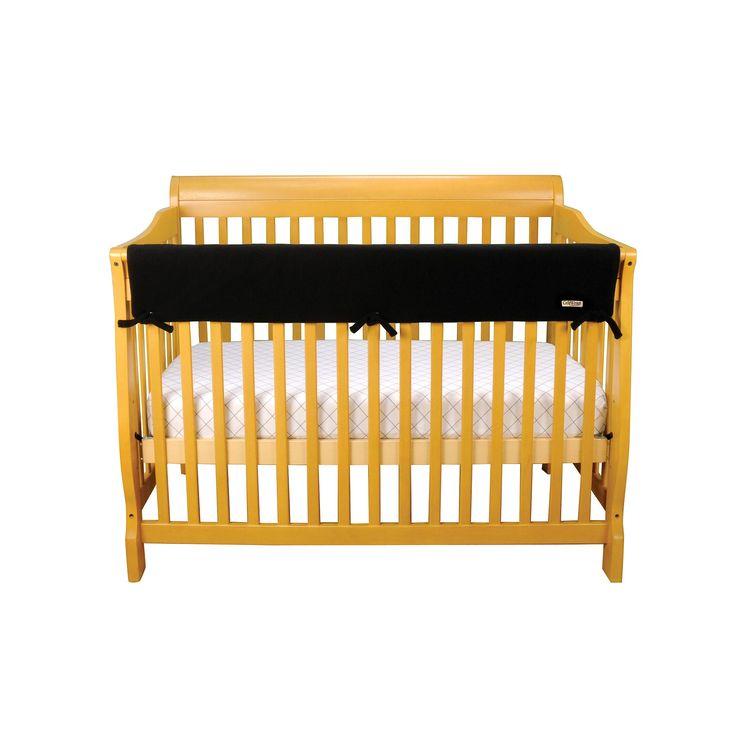 Trend Lab Solid Convertible Fleece Crib Rail Cover, Black