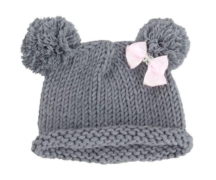 Bestknit Baby Girls Pompom Hat Props Crochet Knitted Pom Pom Hat Bow Beanie Small Gray