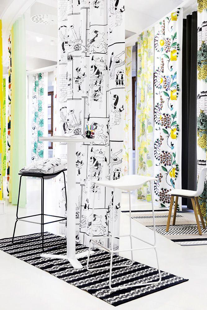 Showroom in Vallila, Helsinki! Talkoissa curtain and cushion by Noora Västinen