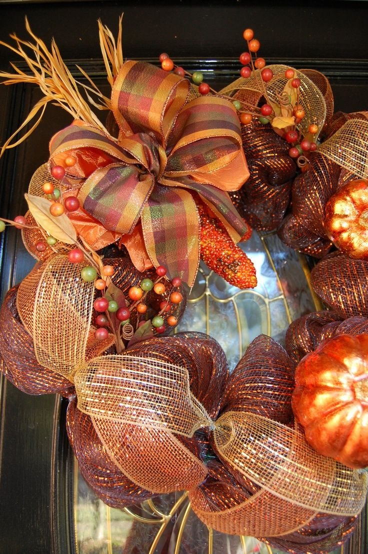 mesh wreaths | Autumn Fall Mesh Wreath with Glitter Corn by polkadotowlcreations