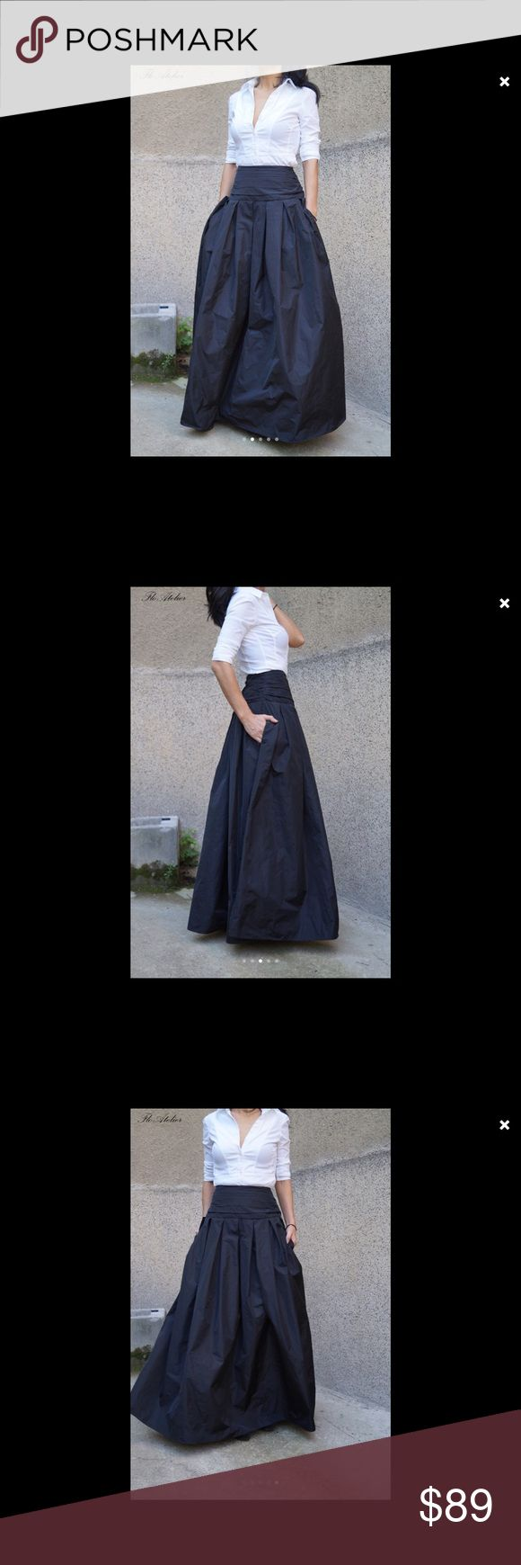 LOVELY BLACK LONG MAXI SKIRT, LONG WAISTBAND Made to order all sizes, long and flowing high quality taffeta skirt, beautiful classical look, comfortable and adds a touch of elegance. Could match with fitted or oversized ones, made to measure so the length will be where you want it. Dry clean only.  Estimated time to create and deliver is 7-21 days.  Ask me for sizing chart if you are interested.🌹 FLOA Dresses Maxi