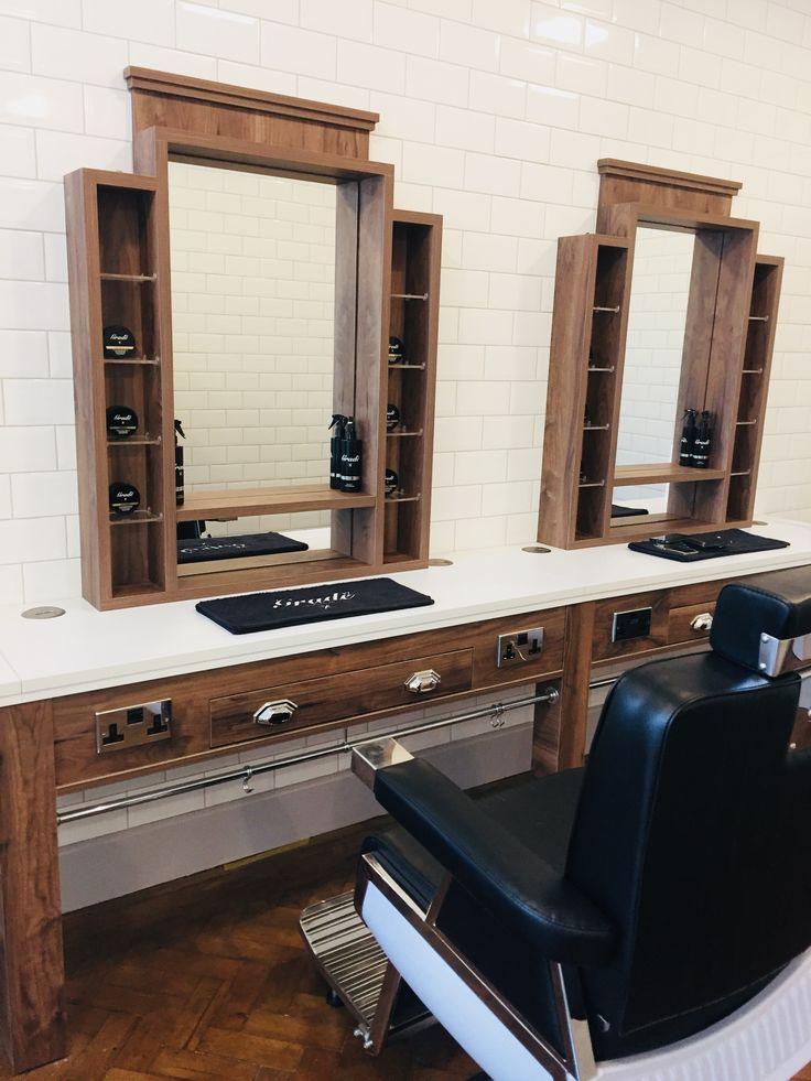 Grade92 Barbering Interior Modern Barber Shop, Barber Shop Interior, Barber Shop Decor, Mustache Pictures, Barbershop Design, Decoration, Cabinet, Wood, Home Decor