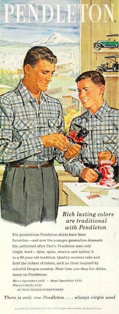 Pendleton Shirts 1959.   Both my Dad and brother wore Pendleton shirts way back when.   Remember it fondly!