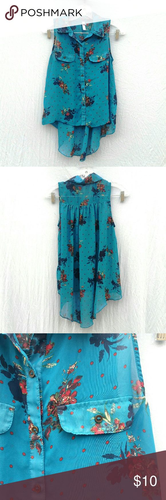 """Teal floral printed chiffon top xs Gently worn button up collar neck chiffon like material floral printed top. I advise wearing a tank top underneath or a cute bralette. No flaws or stains. Has a pleated back and a high low hem. Has two front pockets.  Tag Size : XS  Front Length : 20"""" From Target #tothedunes #floral #chiffon #spring #summer #print #boho #sweet date lunch Boho festival basic essential Xhilaration Tops Blouses"""