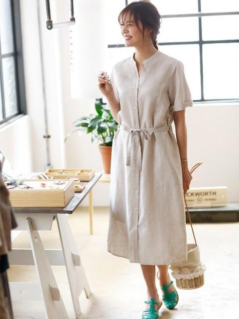 Lightweight and timeless. Prep your summer wardrobe with a dress that's perfect for all your outdoor festivities: Our Linen Cotton Short Sleeve Shirt Dress.