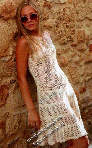 Белое платье крючком. Вязание крючком.