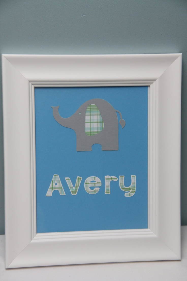 Elephant nursery wall art print mom baby dad by rizzleandrugee - Personalized Elephant Nursery Decor Blue 8 00 Via Etsy