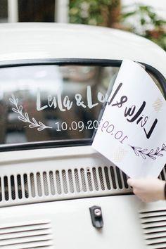 Modèle gratuit à imprimer pour décorer sa voiture le jour du mariage !