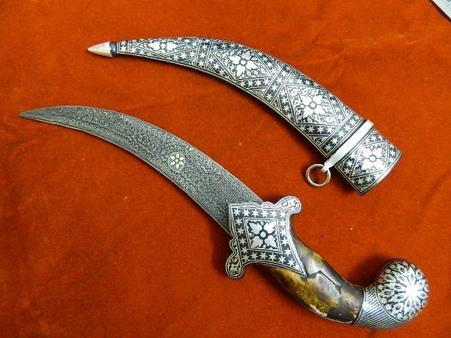 "15""IndoPersian Mughal Shaped Silver Work Dagger Damascus Steel Blade no kard"